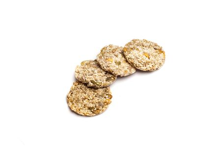 four dietetic cookie with grain on white