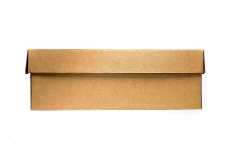 isolated carton box, brown color, one side