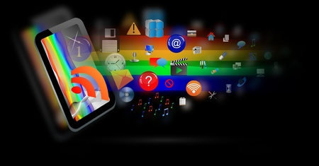 Abstraction which depicts a tablet from which emerge a number of different web icons Stock Photo - 16960168