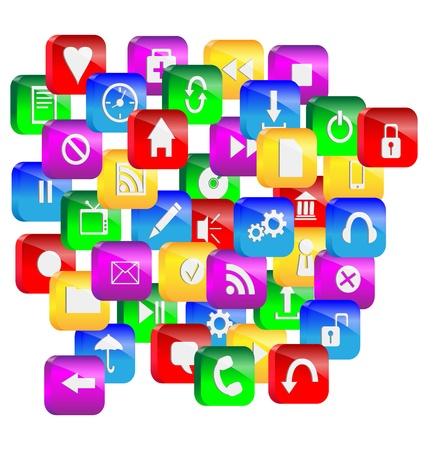 Abstraction consisting of a set of colorful 3d glass buttons and icons for designers for various necessities
