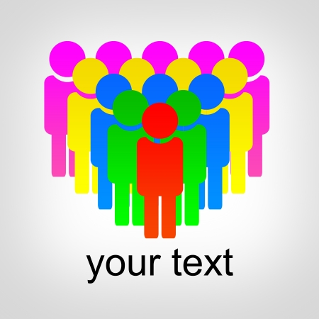 Abstract illustration on the theme of human communication for designers for different needs