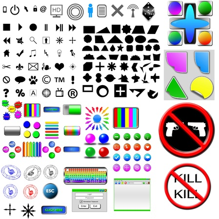The Ensemble of the different computer icons or buttons for different necessities  Stock Photo - 17015640