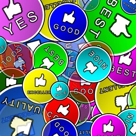 Abstract background of promotional stickers guaranteeing quality  photo