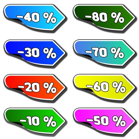 Pointer indicating the direction of the various discounts  photo