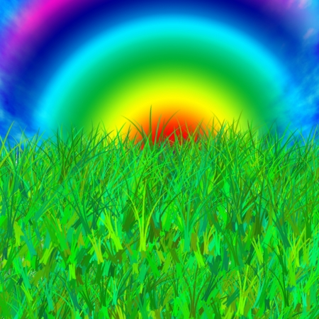 Abstract pattern of grass and rainbow on a summer day  photo