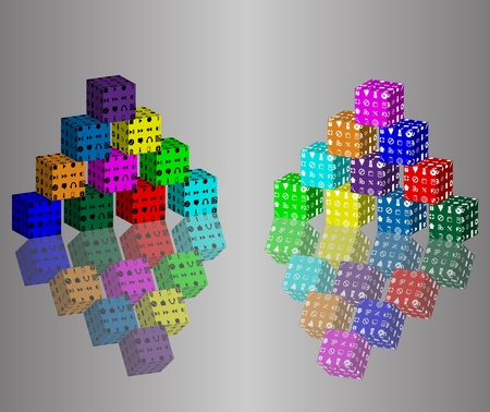 Cubic abstraction consisting of two pyramids of colored blocks and their reflections  photo
