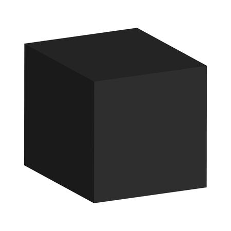 alling: Abstract black cube on a white background for designers for various necessities  Stock Photo
