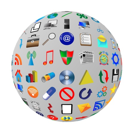 Abstract sphere consisting of different icons for designers for various necessities Stock Photo - 17015588