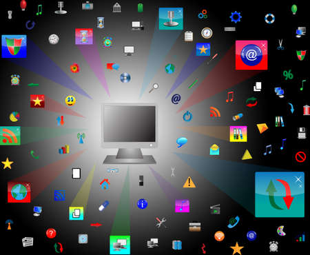 Abstract computer which shows the monitor and web icons on a black background for designers for various necessities  photo