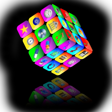 Abstract cube consisting of a set of colored icons for designers for various necessities  Stock Photo - 17015424