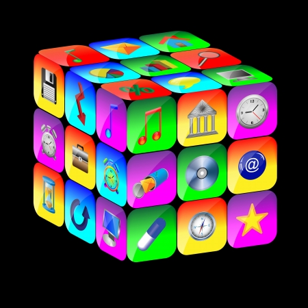 Abstract cube consisting of a set of colored icons for designers for vaus necessities  Stock Photo - 17015417