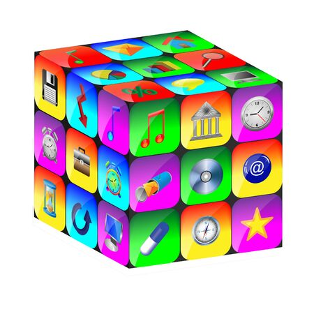 Abstract cube consisting of a set of colored icons for designers for various necessities Stock Photo - 17015419