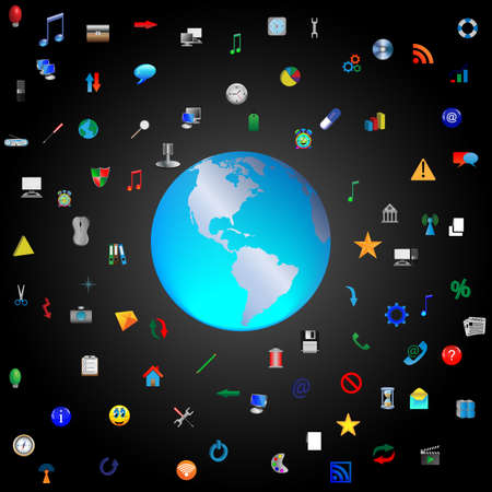 Composition which shows the planet earth surrounded by icons for web designers for various necessities  photo