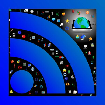 which: Composition in which the symbol of RSS c different web icons for designers for various necessities  Stock Photo