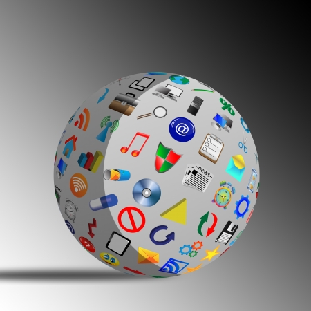 Abstract sphere consisting of different icons for designers for various necessities Stock Photo - 17015451