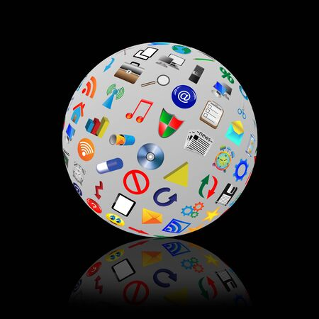 Abstract sphere consisting of different icons for designers for vaus necessities  Stock Photo - 17015443