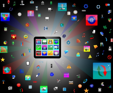 Abstract tablet with colored icons for designers for various necessities. photo