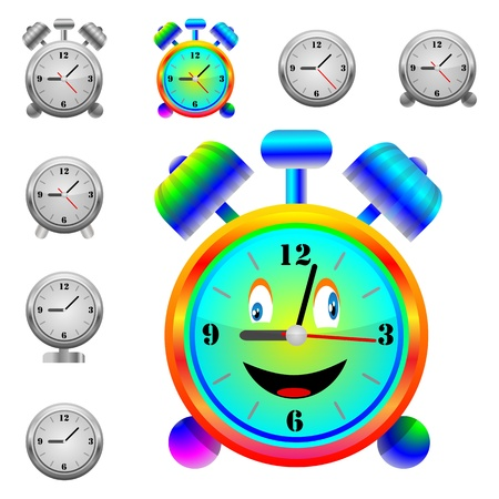 A small collection of modern alarm clocks and one hilarious alarm for various necessities  Vector