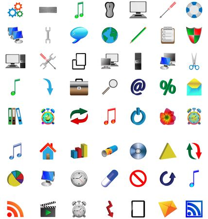 Mega collection of colored buttons and icons for designers to different necessities on a white background  Vector