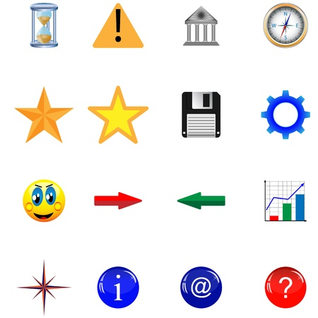 necessities: Mega collection of colored buttons and icons for designers to different necessities on a white background