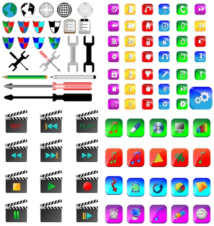 A small collection of colored icons and buttons for different needs Stock Vector - 17033499