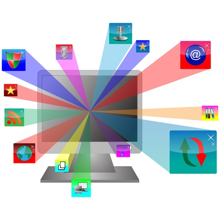 Abstract computer which shows the monitor and web icons  for designers for various necessities Stock Vector - 17033488