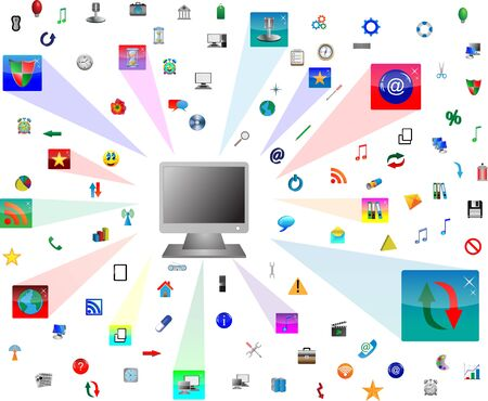 Abstract computer which shows the monitor and web icons  for designers for various necessities  Vector
