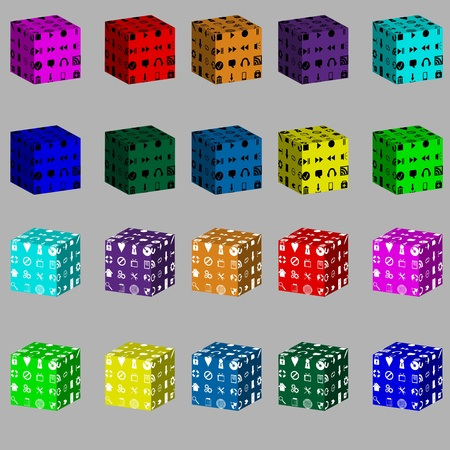 Twenty abstract colored cubes to put on them with black and white icons for different necessities on a white background  Vector