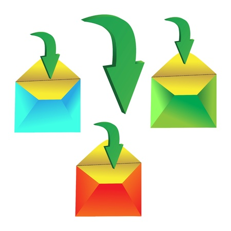 three open colorful envelopes with green arrows Stock Vector - 17035005