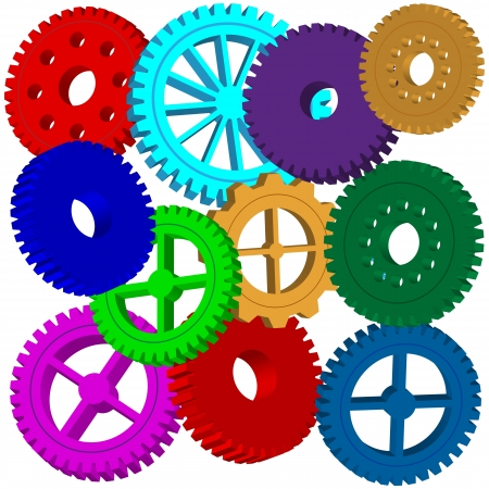 Abstraction consisting of a set of colorful gears on a white background for various necessities  Vector
