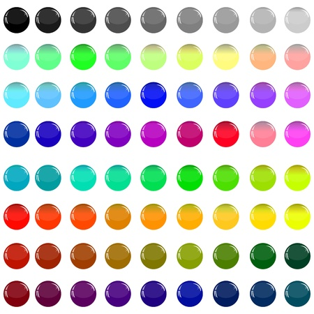 A small collection of colored glass buttons in the form of balls for different needs  Illustration