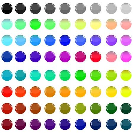 Eine kleine Sammlung von farbigen Glas-Buttons in Form von Kugeln für unterschiedliche Bedürfnisse Illustration