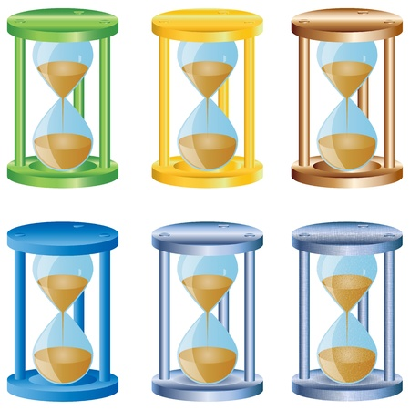 Six abstract colorful hourglasses for designers to different necessities on a white background  Vector