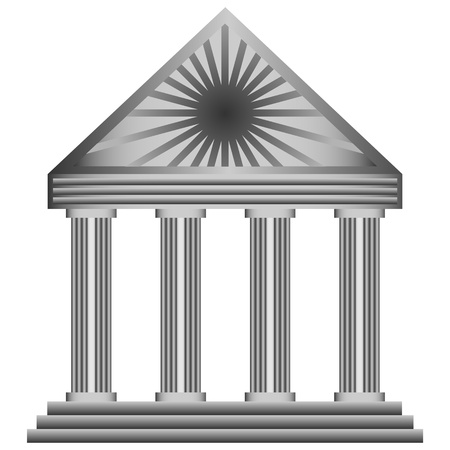 architrave: Abstract icon building with columns for designers to different necessities on a white background
