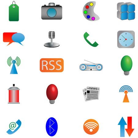 wi: Mega collection of colored buttons and icons for designers to different necessities on a white background