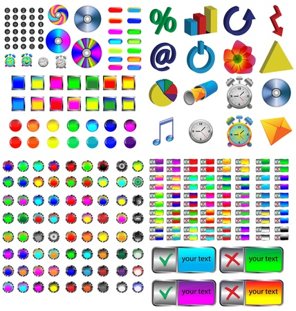 A small collection of colored icons and buttons for different needs Stock Vector - 17035042