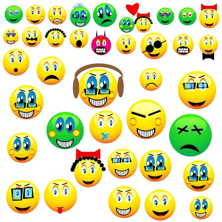 A small collection of various cute emoticons for various necessities  Vector