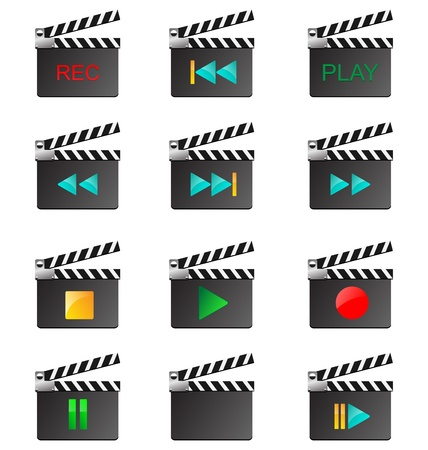 Twelve colored icons in the form of film boards for designers for different needs Stock Vector - 17033217