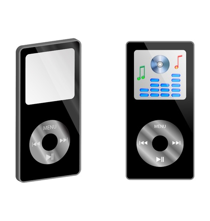 decibel: Abstraction of two MP3 player on a white background for various necessities