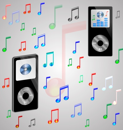 Abstraction which depicts two mp3 players surrounded by a variety of colored notes. Vector