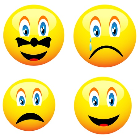 Four beautiful cute yellow smiley for various necessities