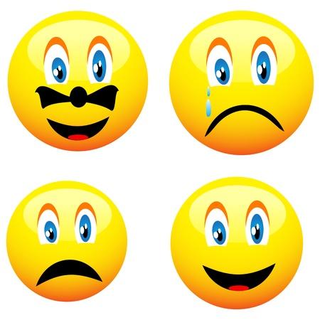 Vier schöne netten gelben smiley für verschiedene Bedürfnisse
