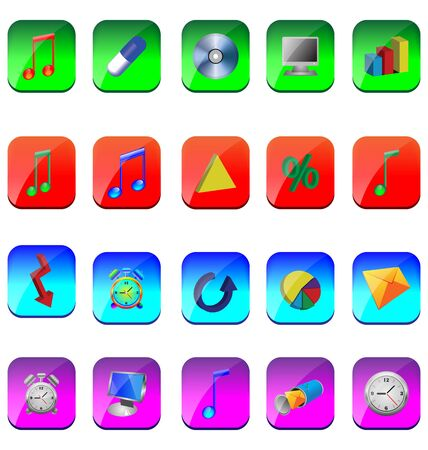 A small collection of colored icons and buttons for different needs Stock Vector - 17035033