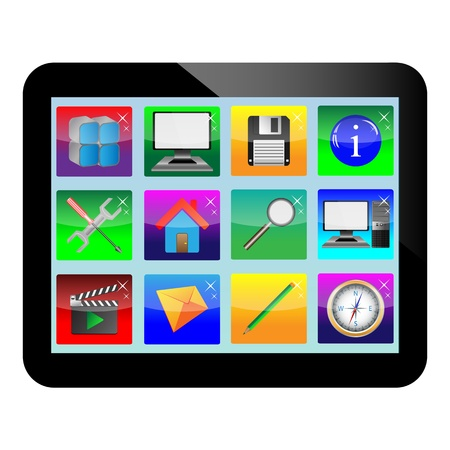 necessities: Abstract tablet with colored icons for designers for various necessities  Illustration