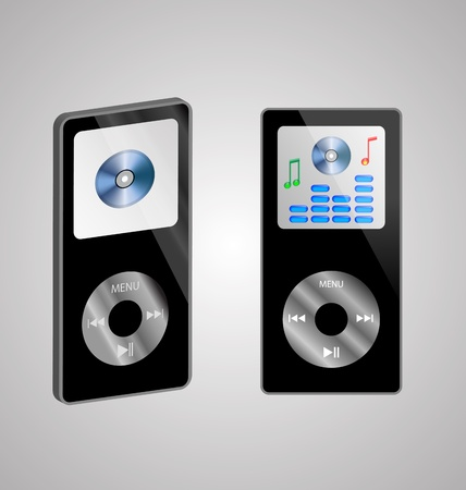 Abstraction of two MP3 players on a gray background for various necessities  Vector