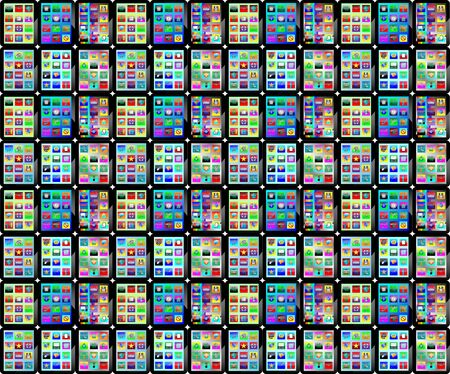 Background consisting of many sets of tablets for designers for various necessities  Vector