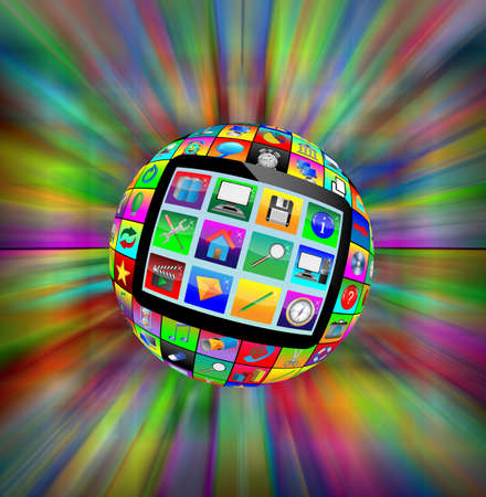 Abstract sphere consisting of different icons for designers for various necessities Stock Photo - 17172430