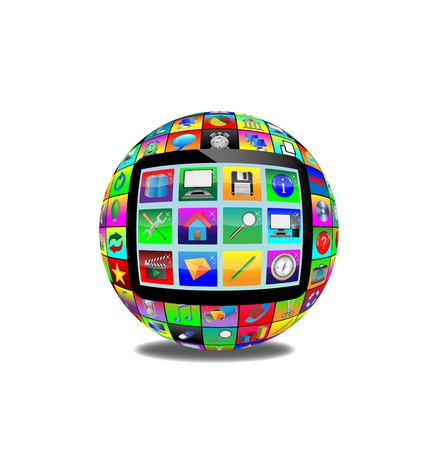 Abstract sphere consisting of different icons for designers for various necessities  photo