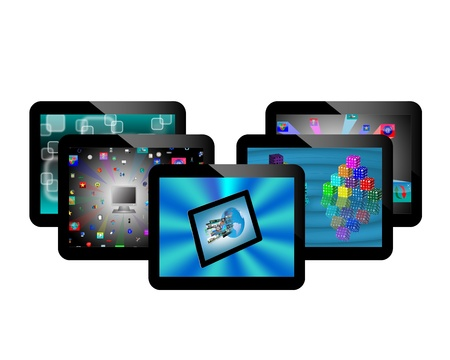 Abstraction of five conventional tablets for web designers for vaus necessities  Stock Photo - 17225823