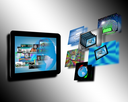 Abstraction which shows tablets and multiple images for designers for various necessities  Stock Photo - 17309472
